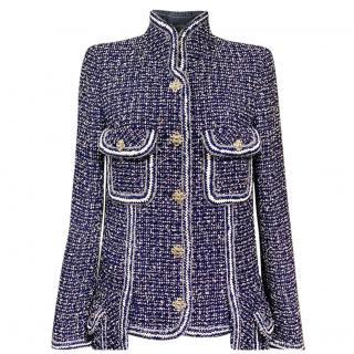 Chanel Blue Fantasy Tweed Gripoix Detail Jacket