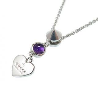 Gucci Amethyst Silver Tone Heart Pendant Necklace