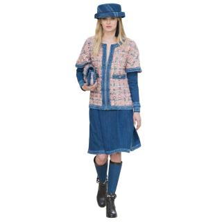 Chanel Pink Boucle Tweed & Denim Jacket & Skirt