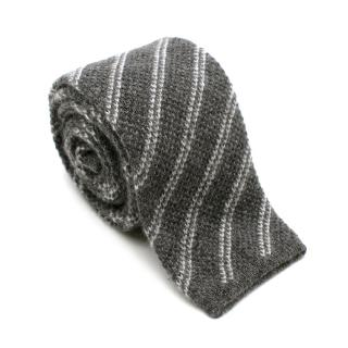 Tom Ford Grey Cashmere Striped Knit Square Tie