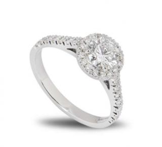 Bespoke Light Green Round Diamond Platinum Ring