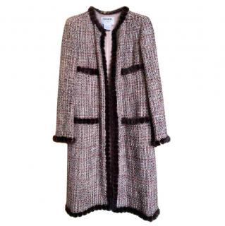Chanel Mink Trimmed Vintage Fantasy Tweed Longline Coat