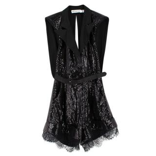 Self Portrait Black Sequin Belted Tailored Playsuit