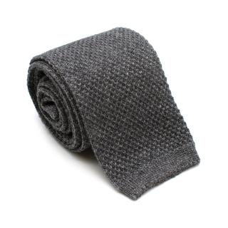 Loro Piana Grey Silk & Cashmere Knit Square Tie
