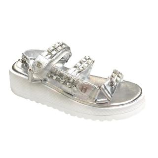 Chanel Silver Leather Chain Detail Dad Sandals