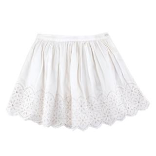 Bonpoint White Cotton Broderie Ruffle Skirt