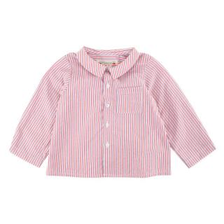 Bonpoint Red & Blue Striped Cotton Long Sleeve Shirt