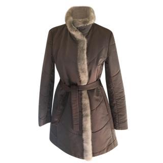 Loro Piana Mink Fur Trimmed Dove Grey Wrap Coat