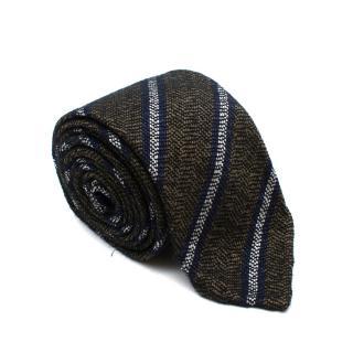 Drake's Green & Blue Striped Silk & Wool Handmade Tie