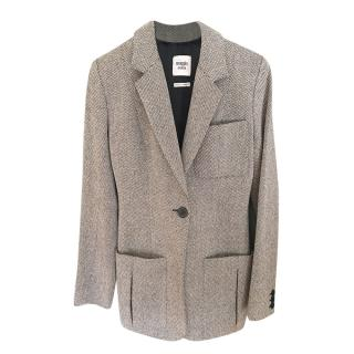Hermes Black & White Woven Wool Tailored Jacket