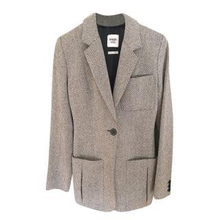 Hermes Black & White Woven Wool Tailored Jacket