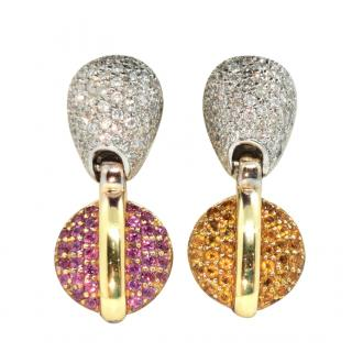Bespoke Citrine, Garnet & Diamond 18ct Yellow Gold Earrings