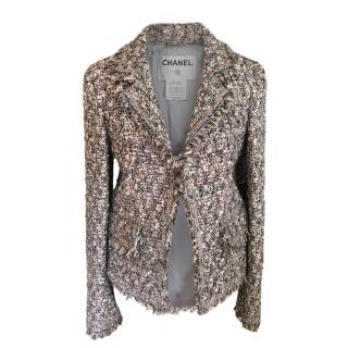 Chanel Grey, Cream & Pink Tweed Tailored Jacket