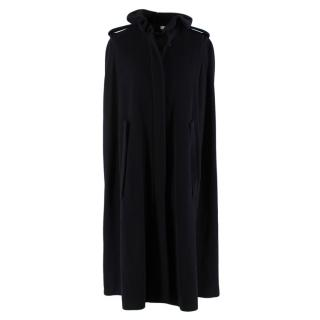 Givenchy Black Wool & Cashmere Ruffled Collar Cape