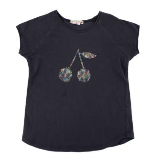 Bonpoint Grey Cotton Holographic Cherry Logo T-shirt