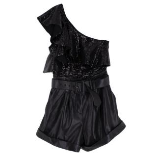 Self Portrait Black Sequin & Faux Leather One Shoulder Playsuit