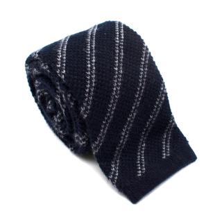 Tom Ford Navy Cashmere Striped Knit Square Tie