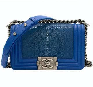 Chanel Blue Stingray Leather Boy Bag