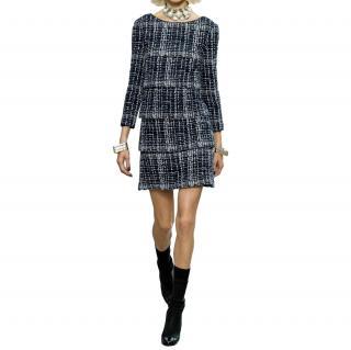 Chanel Blue & White Fantasy Tweed Runway Dress