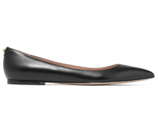 Valentino Black Leather Point Toe Flats