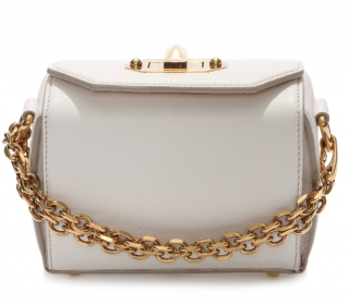 Alexander McQueen White Leather Box 16 Crossbody Bag