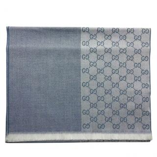 Gucci Denim Blue Reversible Wool Scarf