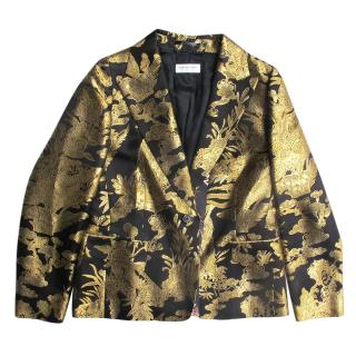 Dries Van Noten Black & Gold Brocade Tailored Jacket