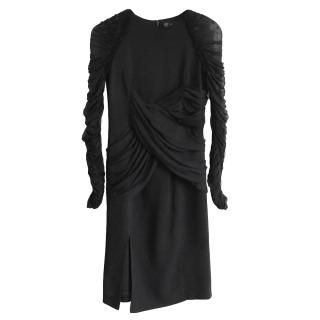 Versace Black Stretch Crepe Ruched Dress