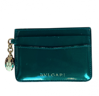 Bvlgari Emerald Green Leather Card Holder