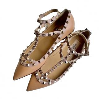 Valentino Beige Rockstud Leather Caged Flats