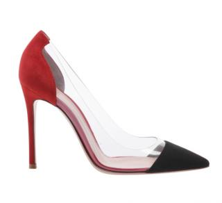Gianvito Rossi Red/Navy Suede Plexi Pumps