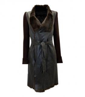 Joseph Leather & Rabbit Fur Brown Wrap Coat