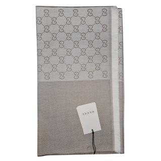 Gucci Monogram Wool Beige Reversible Wool Scarf