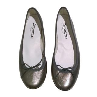 Repetto Metallic Pewter Ballerinas