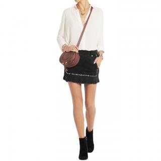 Maje Black Jacob fringed studded suede mini skirt