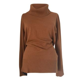 Max Mara Tobacco Wool & Cashmere Roll Neck Jumper