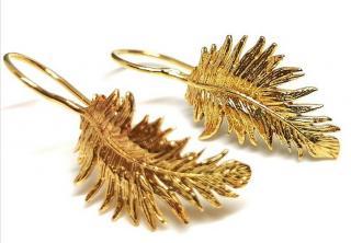 Dower & Hall Gold Tone Leaf Earrings