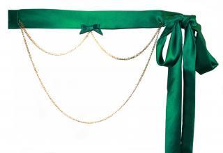Maguy De Chadirac Green Satin Chain Detail Waist Belt