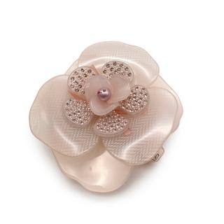 Alexandre de Paris Pink Crystal Embellished Flower Hair Clip
