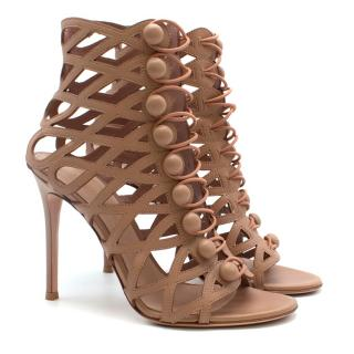 )Gianvito Rossi Nude Leather Heeled Cage Sandals