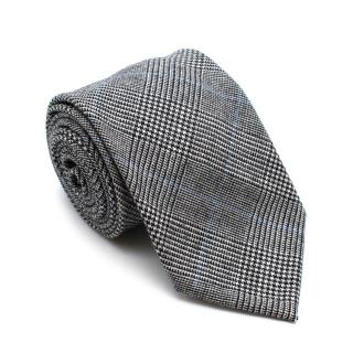 Petronius 1926 Grey Wool Checkered Tie