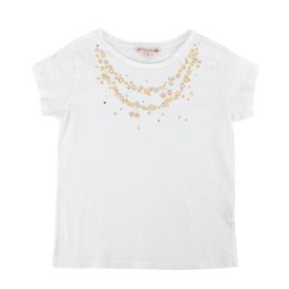 Bonpoint White Cotton Necklace & Strass Print T-shirt