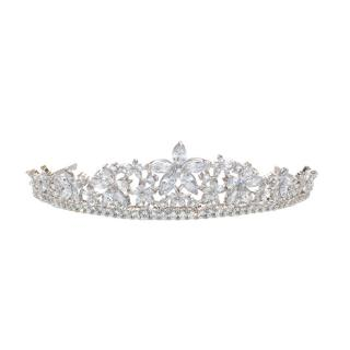 Ivory & Co Silver Plated Floral Crystals Tiara