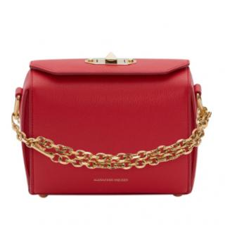 Alexander McQueen Red Leather Box 18 Crossbody Bag
