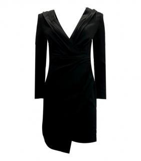 Saint Laurent Black Draped V-Neck Mini Dress
