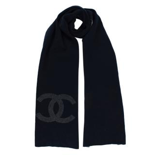 Chanel Navy & Grey Cashmere Knit CC Scarf