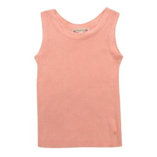 Bonpoint Pink Cotton Ribbed Knit Tank Top