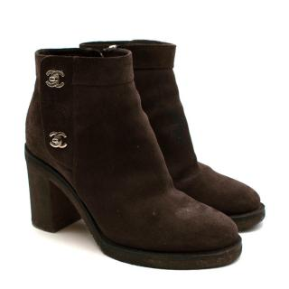 Chanel Brown Suede CC Twist Lock Heeled Ankle Boots