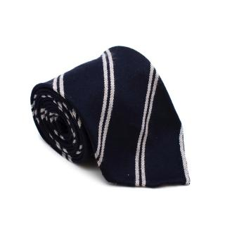 M. Cilento & F.llo Navy Wool Striped Hand Finished Tie