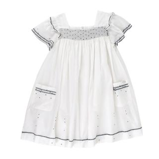 Tartine et Chocolat White Cotton Contrasting Embroidery Dress